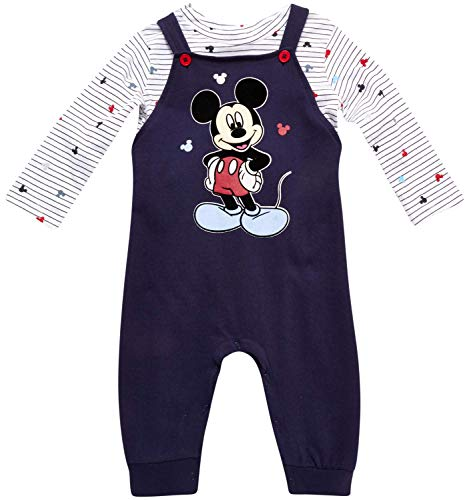 Disney Baby Boys Mickey Mouse 2PC Overall Set - Fleece Romper & Long Sleeve T-Shirt (Newborn/Infant), Size 18M, Mickey Blue
