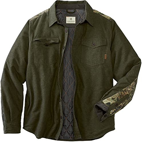 Legendary Whitetails Men's Woodsman Heavyweight Quilted Flannel Shirt Jacket, Army/Mossy Oak Country, XX-Large