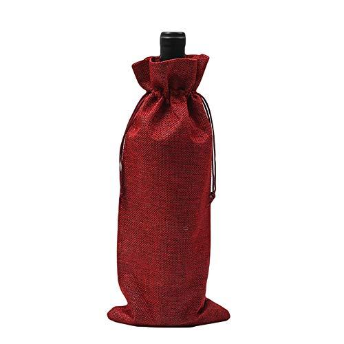 AchidistviQ - Funda de Lino rústico con cordón para Botella de Vino,...