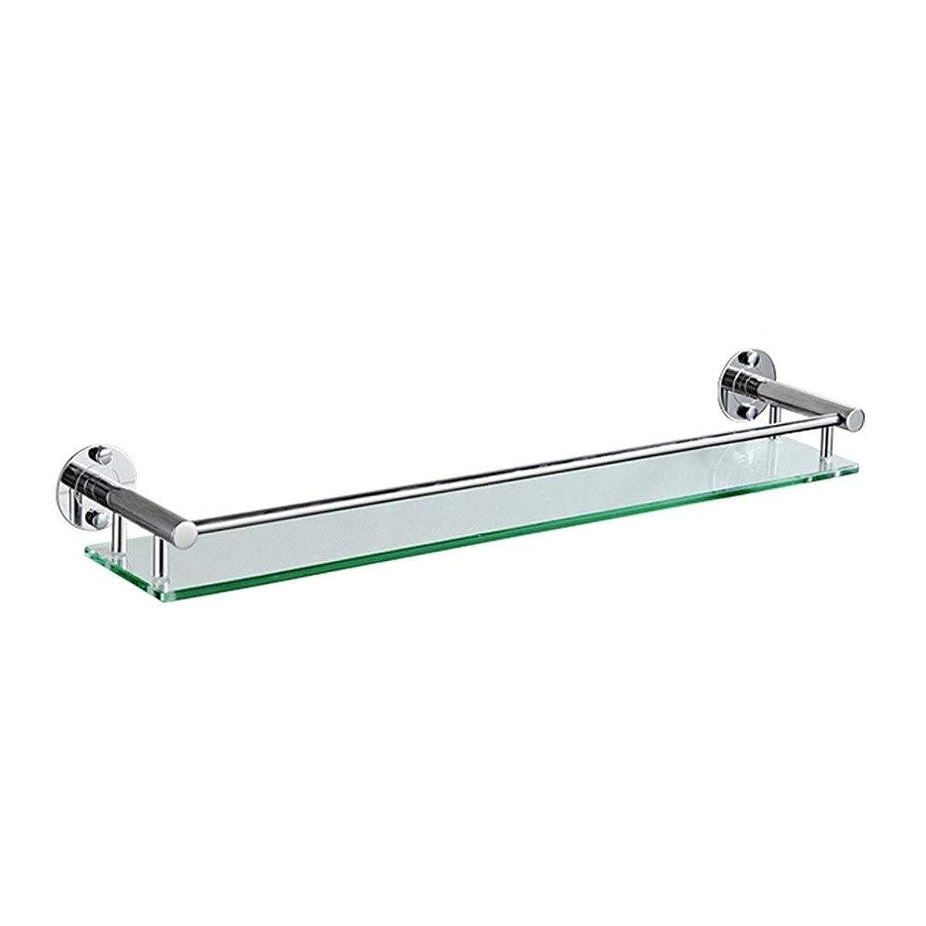 エロチック驚きシードHPLL 浴室のガラス棚、304ステンレス鋼の浴室強化ガラスフレーム太い壁掛け単層バスルームの鏡の前枠 浴室用ガラスシェルフ (Size : 64cm)