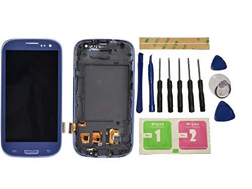 Flügel para Samsung Galaxy s3 i9300 i9305 Pantalla LCD Pantalla Azul Táctil digitalizador Completo Pantalla (con Marco) de Recambio & Herramientas