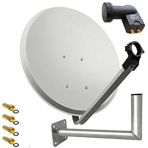 PremiumX SAT Anlage 80cm Hellgrau Satellitenantenne Stahl Satellitenschüssel Twin LNB Wandhalter 45cm ALU 2TN 4 Stecker
