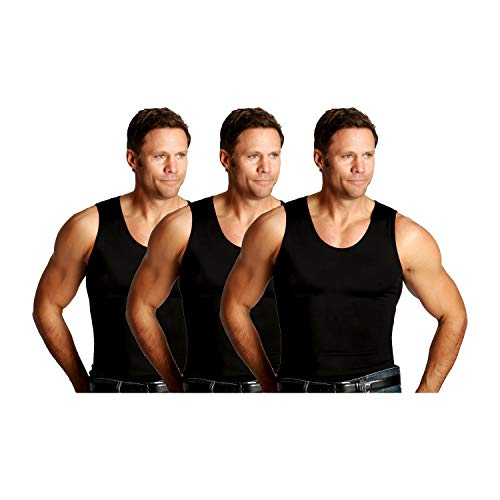 Insta Slim ISPRO Activewear Slimming Muscle Tank Top Shapewear Compression Shirt for Men - (Pack of 3) Black