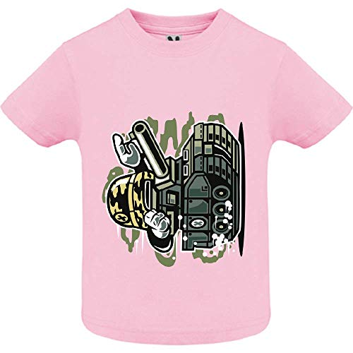 LookMyKase T-Shirt - War Tank - Bébé Fille - Rose - 6mois