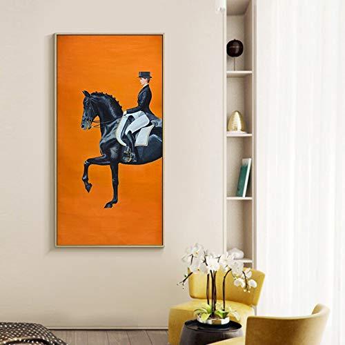 KWzEQ Cartel Moderno Moderno de impresión de Carreras de Caballos de Color Naranja sobre Lienzo Pared Fresca decoración de la casa del Artista,Pintura sin Marco,60X120cm