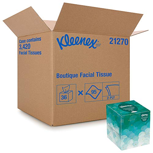 Kleenex Professional Facial Tissue Cube for Business 21270 Upright Face Tissue Box 36 Boxes / Case 95 Tissues /Box 3420 Tissues / Case