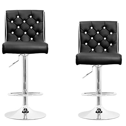 Best Master Furniture Tufted Vinyl with Faux Crystals Adjustable Swivel Bar Stool - Set of 2, Black