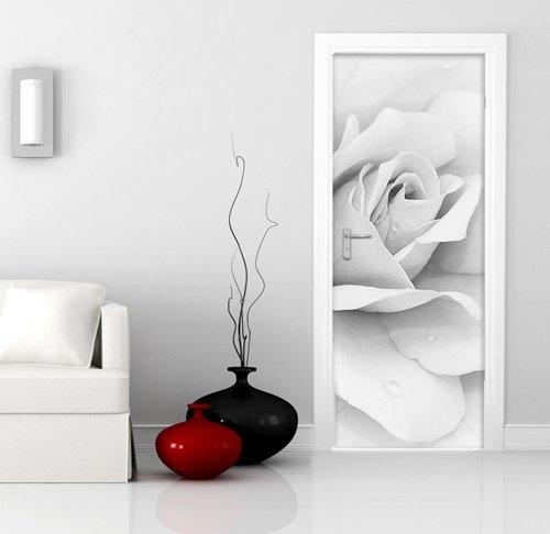 wall art PT0105 Decorazione Adesiva per Porte arredo casa - Porta Rosa Bianca - Stampa su PVC Adesivo Bubble Free