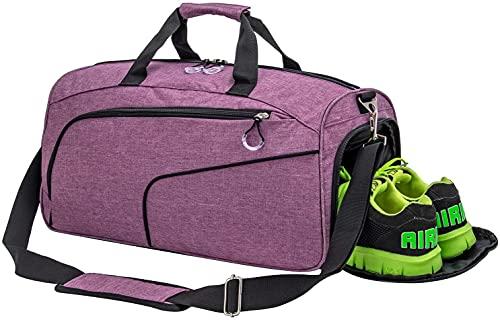Sporttasche Reisetasche mit Schuhfach und Nassfach Wasserdicht Fitnesstasche Trainingstasche Weekender Damen Handgepäck Tasche Übernachtungs Tasche für Männer und Frauen(Lila)