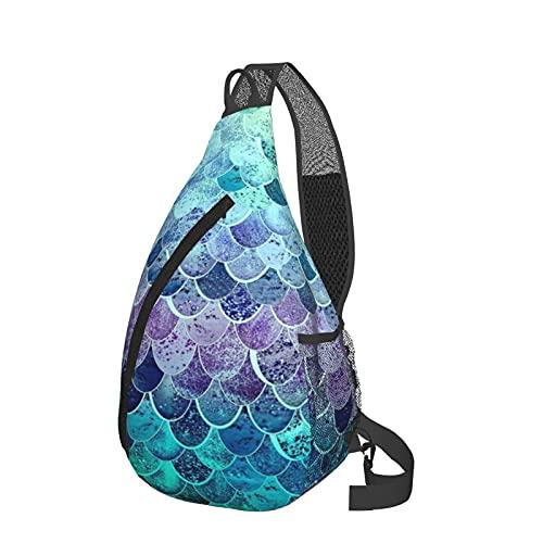Sling Rucksack Meerjungfrau Waage Brust Crossbody Daypack Leichte Sling Pack Casual Fanny Pack Travel Messenger Bag für Wandern Camping