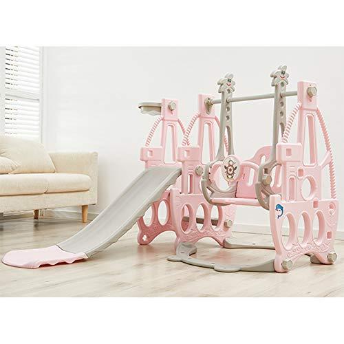 Muyuuu Diapositiva y Juego de Swing, jugadas de escaladores para niños con aro de Baloncesto y Bola, fácil configuración para niños en el área de Juego de Patio Trasero de Interior (Color : Pink)