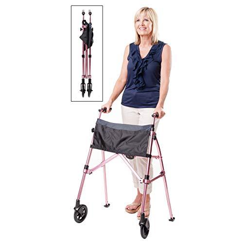 Stander EZ Fold-N-Go Walker, Lightweight Folding 2 Wheel Rolling Walker for Seniors with Swivel Wheels, Regal Rose