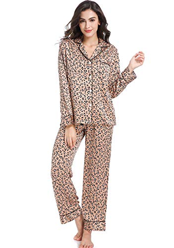 Serenedelicacy Women's Silky Satin Pajamas, Button Up Long Sleeve PJ Set Sleepwear Loungewear (Medium, Tan/Black/Ivory Leopard)