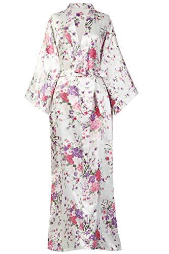 BABEYOND Damen Morgenmantel Maxi Lang Seide Satin Kimono Kleid Blütenkirsche Muster Kimono Bademantel Damen Lange Robe Blumen Schlafmantel Girl Pajama Party 135 cm Lang (Weiß)