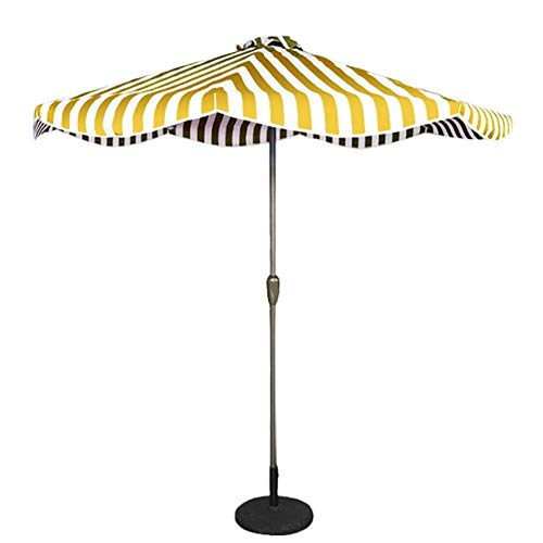MLTYQ 9ft / 2.7m Garden Parasol Umbrella, Outdoor Sun Shade for Patio/Beach/Pool Umbrellas with Winding Crank, Sunscreen UV50+ (Color : Yellow and White Striped, Size : 9ft/2.7m)