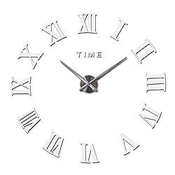 Home Decorations Quartz Wall Clock Clocks Watch Horloge 3D DIY Acrylic Mirror Wall Stickers,White,47Inch