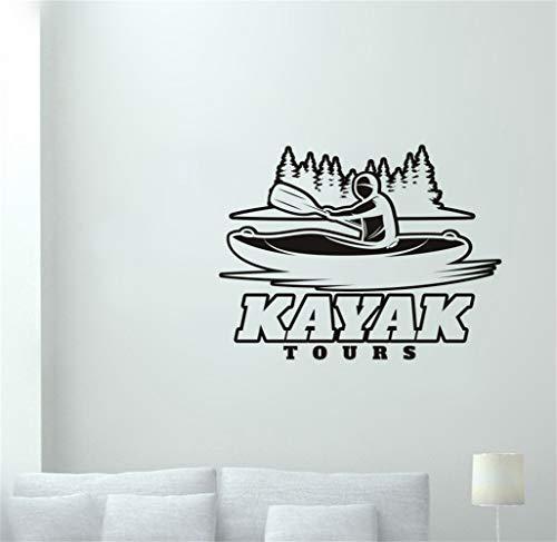 Wandaufkleber Schlafzimmer Kajak Aufkleber Wald Outdoor Sports Kayak Tours Aufkleber Poster Dekor Wandbild Skifahren Aufkleber für Wohnzimmer