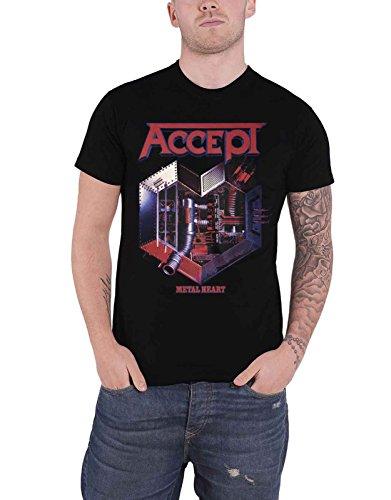 Accept T Shirt Metal Heart Band Logo Nue offiziell Herren