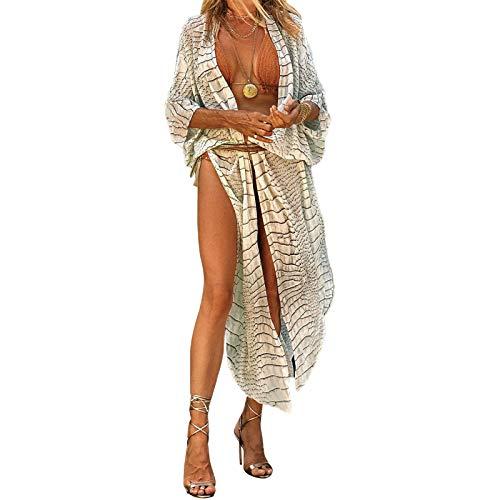 Pareo de Bikini para Mujer Cover Up para Playa Estampado Floral Cárdigan Largo Estilo Bohemio Bata Kimono Talla Grande de Mujer para Verano Vacaciones (Serpiente, XXL)