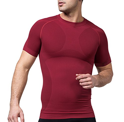 Sodacoda Herren Base-Layer T-Shirt - Gym Alltags Freizeit Hemd Kurzarm (WeinRot, M)