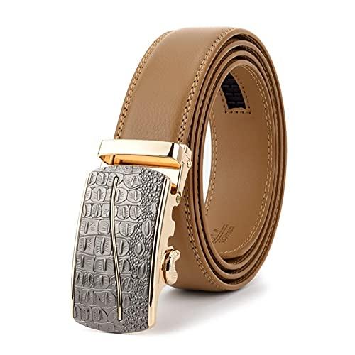 FZYE Cinturón para Hombre Cinturón de Cuero marrón para Hombre Cinturones de Hebilla automática para Hombre Correa de Cintura para Hombre (Longitud del cinturón: Cintura 34 35, Color: M