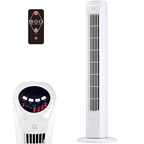 FlinQ Ventilador de torre Slim Line con control remoto y función giratoria | Ventilador de torre 80 cm | Ventilador de pie 45W con temporizador y 3 velocidades