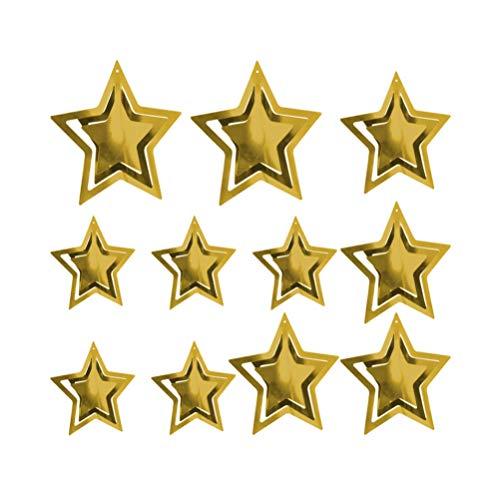 ABOOFAN 11 Piezas Estrella de Papel Adorno Colgante Estrella de Navidad Decoración Colgante 3D Decoración Colgante Adornos Navideños para El Hogar Hotel Centro Comercial Tienda Oro