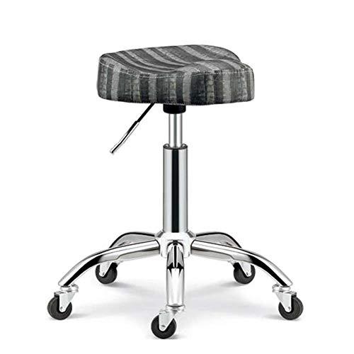 WangXN Draaikruk op wielen, verstelbare kruk, 46-58 cm, bekleed zitje van kunstleer, werkkruk voor schoonheidsstudio, kantoor, kliniek