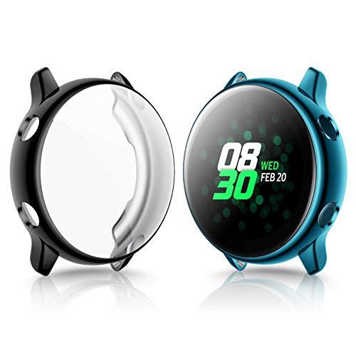 KIMILAR Schutzhülle Kompatibel mit Samsung Galaxy Active Watch 40mm Hülle (Kann mit Case Aufladen),(Nicht für Active 2) Vollständige Abdeckung Weiche TPU Cover Case Schutzfolie -Indigo + Klar