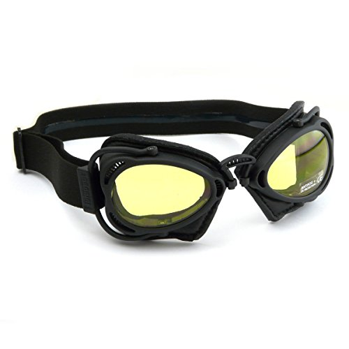 Nannini Hot rod moto occhiali con colore nero opaco e nero in pelle–Made in Italy