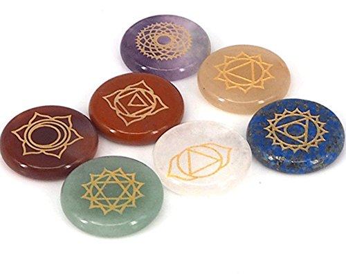 AITELEI 7 Chakra Stones Reiki Heilung Crystal mit eingravierten Chakra Symbole holistischen Balancing poliert Palm Stones Thumb Steine Crystal Therapie