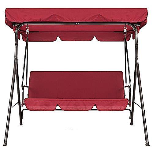Zchui - Copertura per altalena, per dondolo da giardino, patio, in rattan, altalena a 3 posti, con seduta imbottita, impermeabile, parasole, per giardino, cortile, parco, balcone, 3 colori