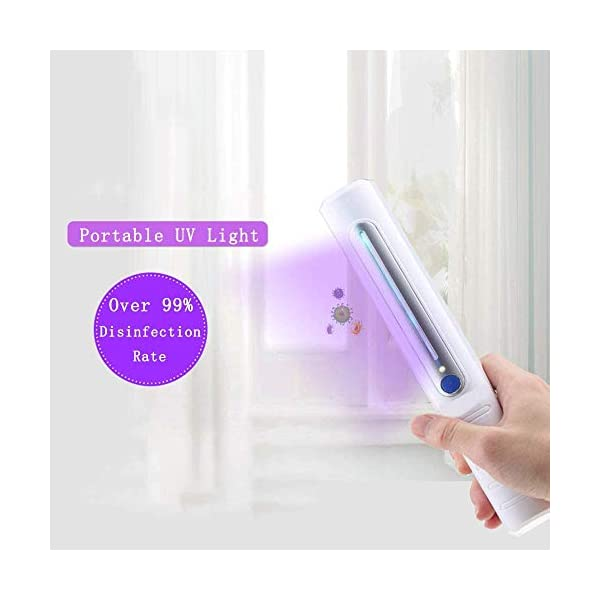 Suitable for Household Wardrobe Toilets in Hotel pet Areas Disinfection Wand No Chemicals Handheld Travel Ultraviolet Sterilization Lamp Portable UV Light Sanitizer Sterilization Rate of 99/%