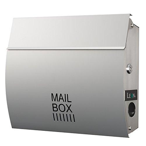 LEON (レオン) MB4801 郵便ポスト 壁掛けタイプ ステンレス製 鍵付き おしゃれ 大型 ポスト 郵便受け (マグネット付き) シルバー