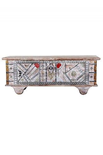 Orientalische Truhe Kiste aus Holz Chadijah 116cm groß | Vintage Sitzbank mit Aufbewahrung für den Flur | Aufbewahrungsbox mit Deckel im Bad | Betttruhe als Kissenbox oder Deko im Schlafzimmer - 3
