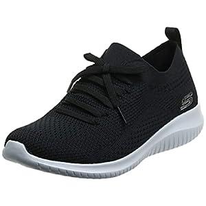 Skechers womens Ultra Flex - Statements Sneaker, Black/White, 8 US