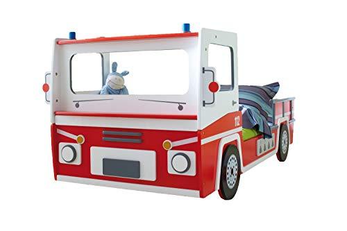 Autobett Feuerwehr inkl. Rollrost 90 * 200 rot weiß SOS Truck Kinderbett Kinderzimmer Rennbett Jugendbett Jugendliege Bett Einzelbett Spielbett