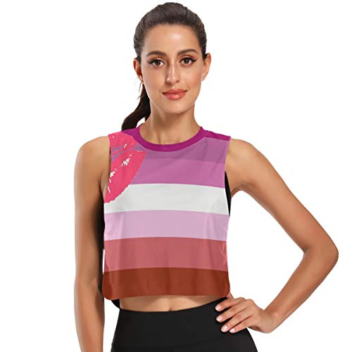 Women's Crop Top Workout Shirts Lipstick_Lesbian_Pride_Flag Sleeveless Muscle Tank Athletic Crop Tank Top