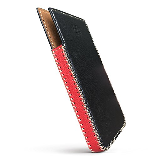 BlackBerry KeyOne Leather Case with Built-in Holster No Belt Clip (Black & Red)