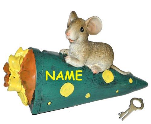 alles-meine.de GmbH Spardose  Maus mit grüner Schultüte / Zuckertüte  - mit Schlüssel + Namen - stabile Sparbüchse aus Kunstharz - für Schulanfang Mäuse Geld - ABC Schütze - Sc..