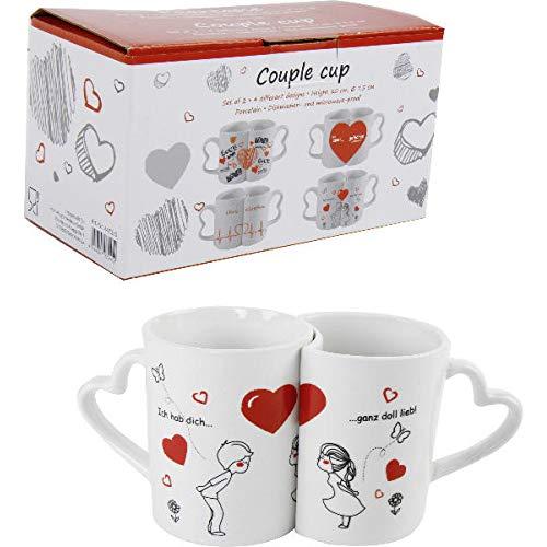 2er Set Paartassen Tasse für Paare Ich hab Dich...ganz doll lieb mit Herz-Henkel | Geschenk für Frauen | Männer | Valentinstag | Geburtstag | Glas | Frauentag | Becher | Muttertag