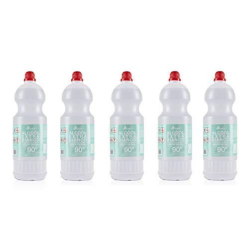 Alcopro - Alcool Extra Bianco, Disinfettante superfici, pavimenti, ambienti, oggetti, Alcool bianco 90° disinfettante liquido igienizzante per tutte le superfici (5 Flaconi da 1L)