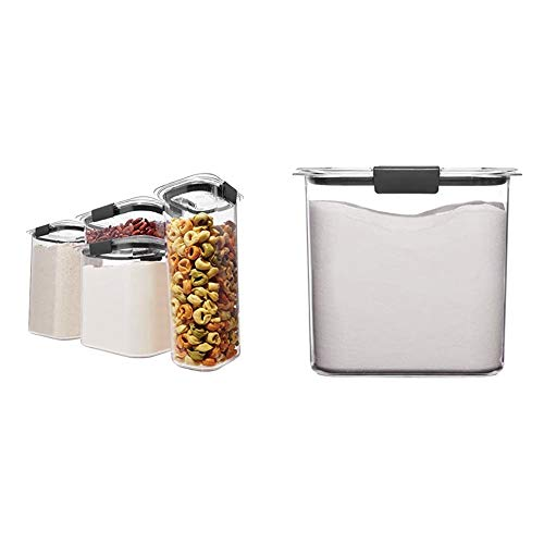 Rubbermaid Brilliance Pantry Organization & Food Storage Containers with Airtight Lids, Set of 4 (8 Pieces Total) & Container, BPA-Free Plastic, Clear Brilliance Pantry Airtight Food Storage (12 Cup)