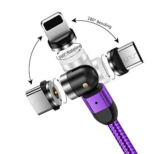 ACALI Cable Magnético 3 en 1, Cable de Carga Tipo C/Micro USB Cable de Cargador teléfono 1m, rotación Libre de 360 Grados + 180 Grados Compatible con Galaxy/i Productos/Huawei/Xiaomi/Kindle (púrpura)