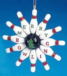 Kurt Adler 3.5' Bowling Pins Merry Bowling Christmas Ornament