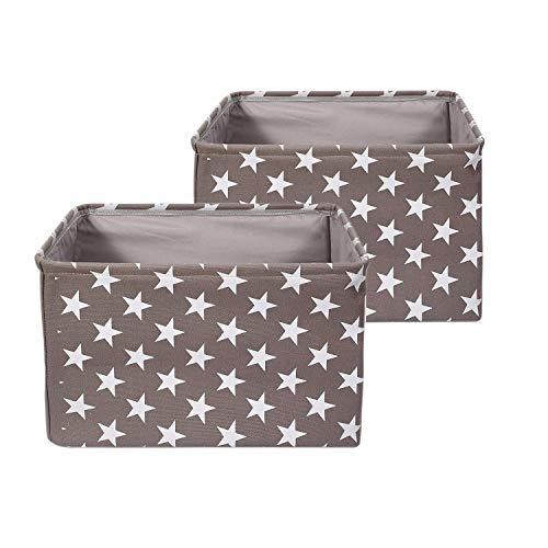 BrilliantJo 2er Set Aufbewahrungsbox aus Stoff, groß Box Faltbarer Ordnungsbox, dickwandiger Aufbewahrung Kisten mit Handgriff für Kleidung, Spielzeug (Waschbar, 40 * 30 * 25cm, Grau)