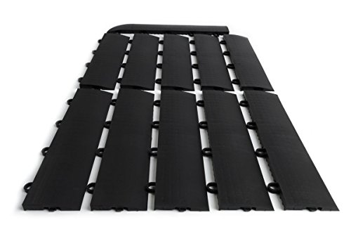 SnapFloors E175BLAK11F Transition Kit 10 Edges, 1 Female Corner Durable Interlocking Modular Garage Flooring Tile (11 Piece), Black