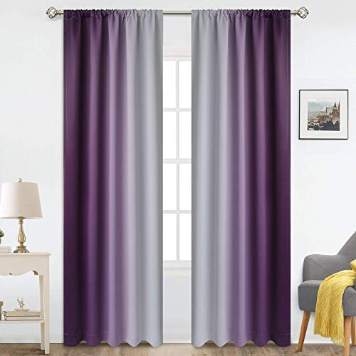 COSVIYA Rod Pocket Ombre Room Darkening Curtains 84 inch Length 2 Panels, Purple and Grayish White Gradient Drapes Light Blocking Insulated Thermal Window Curtains for Bedroom/Living Room,52x84 inches
