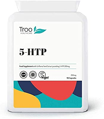 5-HTP 200mg 90 Capsules - Double Strength Natural 5HTP from Griffonia Seed - UK Manufactured GMP Quality Assurance
