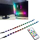 DS Full Kit RGB LED Strip Computer Lighting via Magnet for Desktop Computer Case Mid Tower Full Tower (2pcs 11.8Inch, Compatible DS Hub Box, A Series)